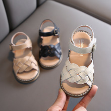 Summer Girls Genuine Leather Sandals Woven Princess Roman Shoes Dance Shoes Children #8217 s Shoes Girls Summer Shoes cheap rubber brother Soft Leather Flat Heels Hook Loop Fits true to size take your normal size NONE Ankle Strap Flat with