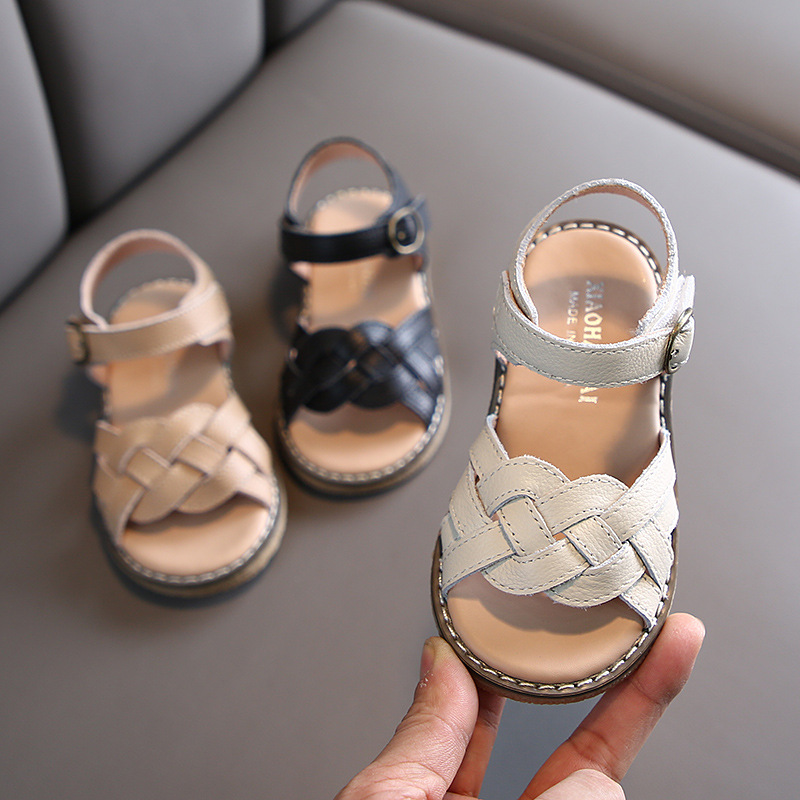 Summer Girls Genuine Leather Sandals Woven Princess Roman Shoes Dance Shoes Children's Shoes  Girls Summer Shoes