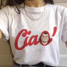 Lato nowe pieniądze Heist Tshirt dom papieru La Casa De Papel T Shirt Vogue Casual Dali maska Casa De Papel koszulka damska Top tanie tanio Poliester Krótki REGULAR Suknem Stałe NONE Na co dzień O-neck