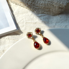 Pearl  Baroque red crystal vintage earrings water drop indian baroque Fashion Women Dangles Pendientes Wedding Jewelry