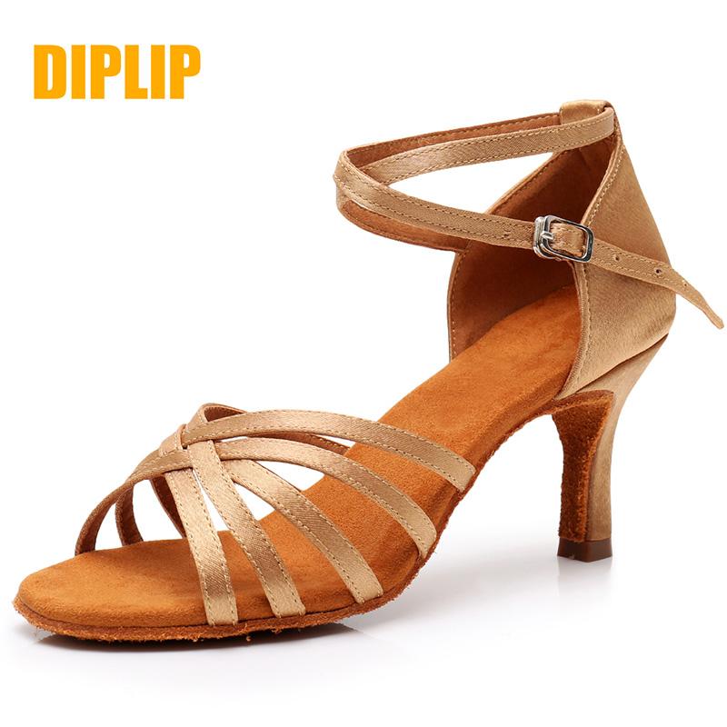 DIPLIP Hot New Latin Dance Shoes Women's Ballroom Tango Salsa High Heels Soft Bottom Dancing Shoes 5 / 7cm GB Dance Sandals