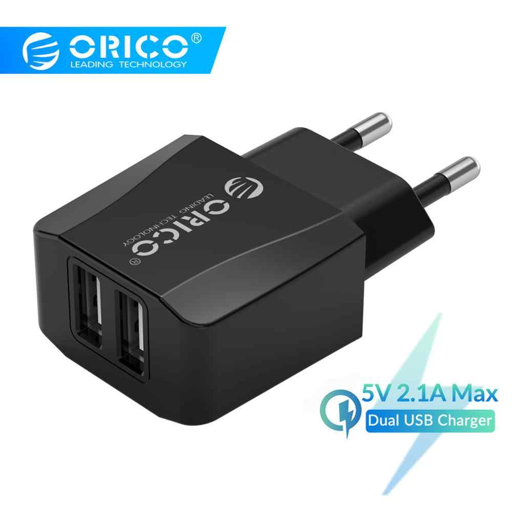 Orico 5V 2.1A USB Charger 2 Port Travel Charger untuk Iphone Ipad Samsung Xiaomi Huawei Uni Eropa Plug Ponsel charger