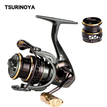 TSURINOYA JAGUAR 500 Ultra Light Fishing Reel Spinning 9+1BB 5.2:1 Carp Fishing Reel Double Spool Saltwater Carretilha De Pesca tsurinoya flying shark 6 2 1 high speed fishing reel 4000 5000 spinning reel 11 1bb 12kg drag aluminum spool carp fishing tackle