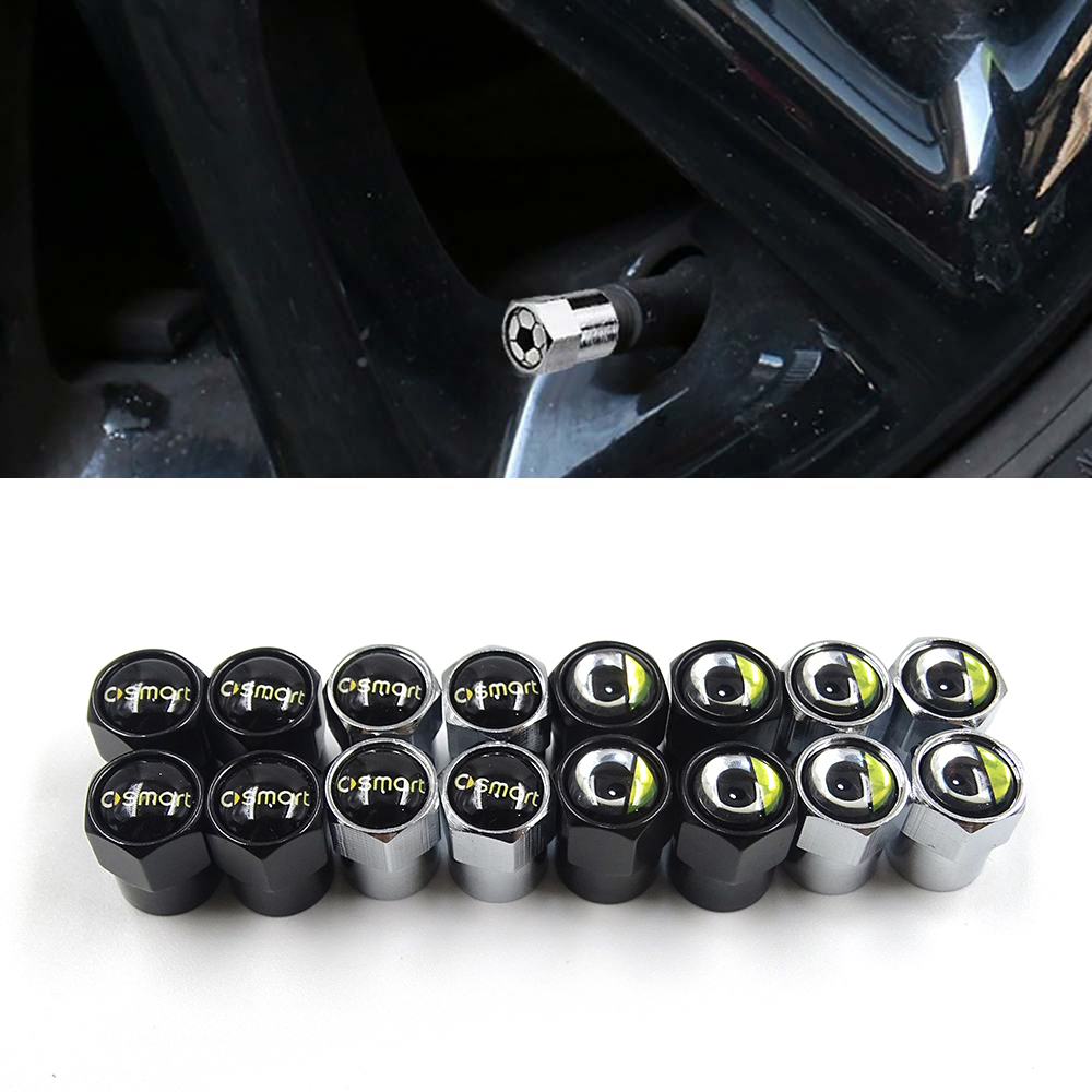 6corners Car Tire Valve Caps Air Tyre Stems Cover For Smart Fortwo 450 451 453 452 Forfour Forspeed Forstars Forjeremy Roadster