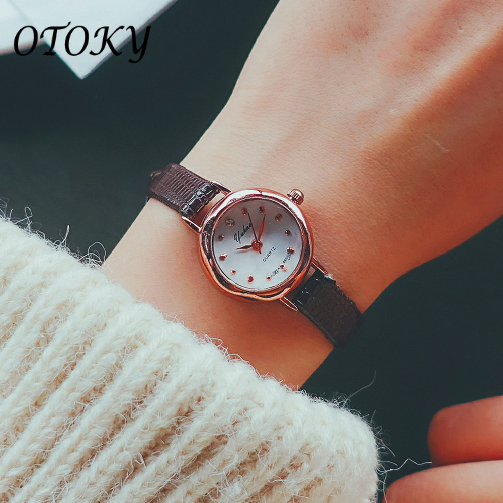 Fashion Watch Women Leather Ladies Watches Crystal Wrist Watch Luxury Pink Black Reloj Mujer Montre Femme Luxury Small Watch