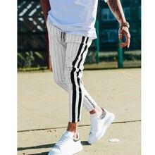 Модные мужские полосатые брюки в английском стиле, мужские новые длинные брюки-джоггеры, повседневные брюки, брюки в полоску с завязками по бокам
