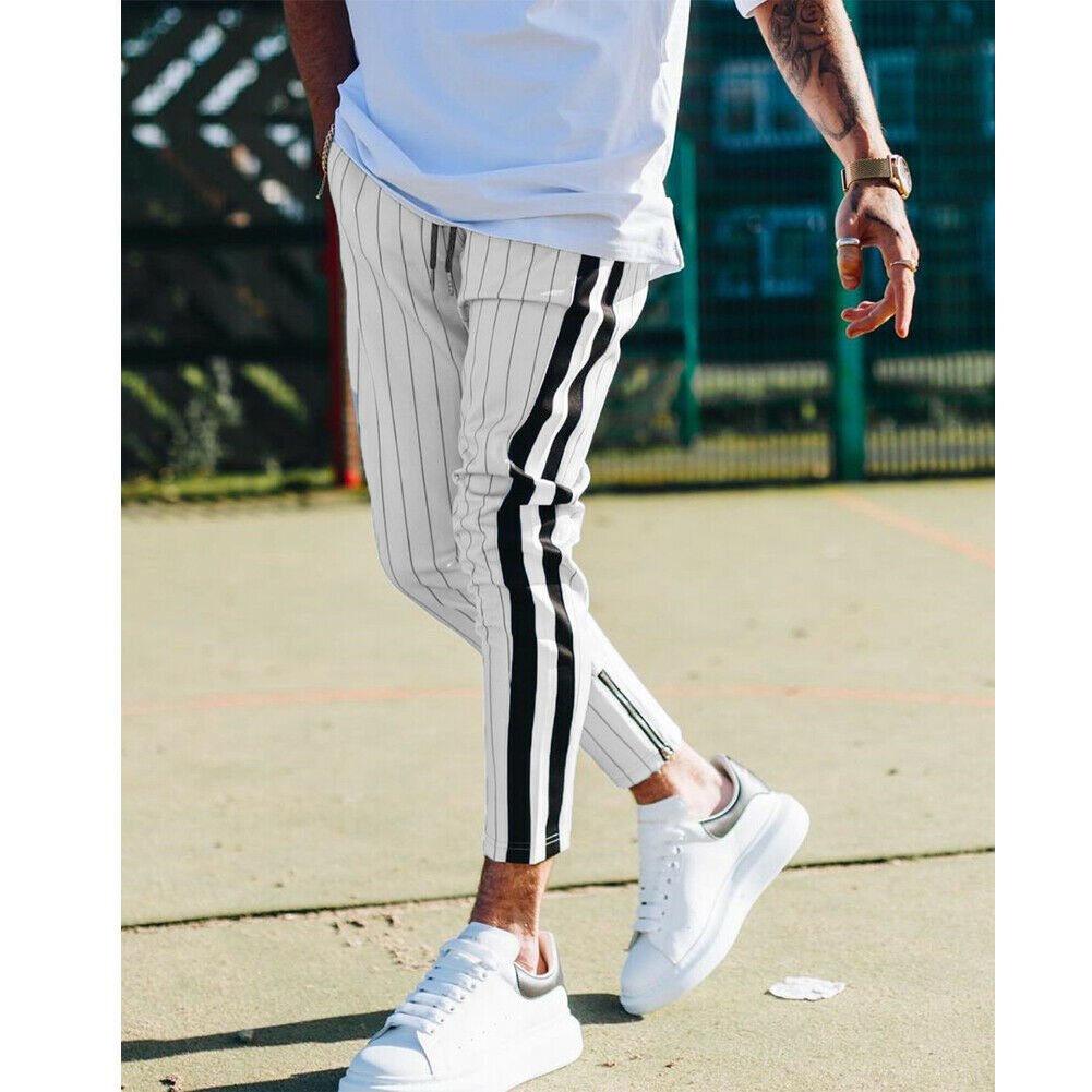 Fashion Men England Style Striped Pants Male New Long Pencil Joggers Pants Casual Trousers Drawstring Side Stripe Slacks 2019