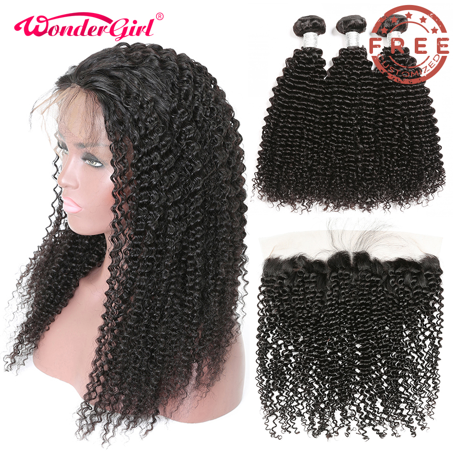 Free Customized Brazilian Afro Kinky Curly Lace Front Wig Pre Plucked By Remy Human Hair Kinky Curly Bundles With Frontal