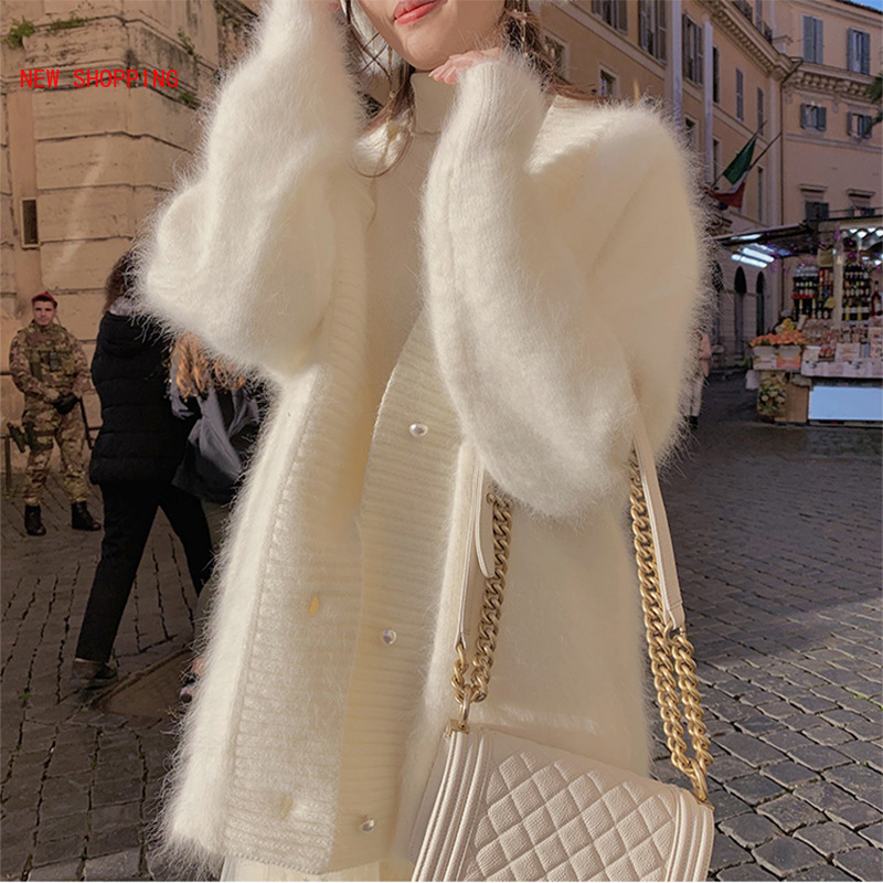 White Mohair Sweaters Chic Cardigan Women 2020 Winter Hairy Soft Solid Woman Sweater Coat V Neck Cardigan Female Jacket Outwear