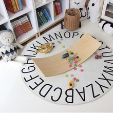 120cm Round Carpet INS Letter Pattern Baby Crawling Carpet Kids Play Mat Anti-Slip Floor Mats Kid's Room Decor Nursery Rugs