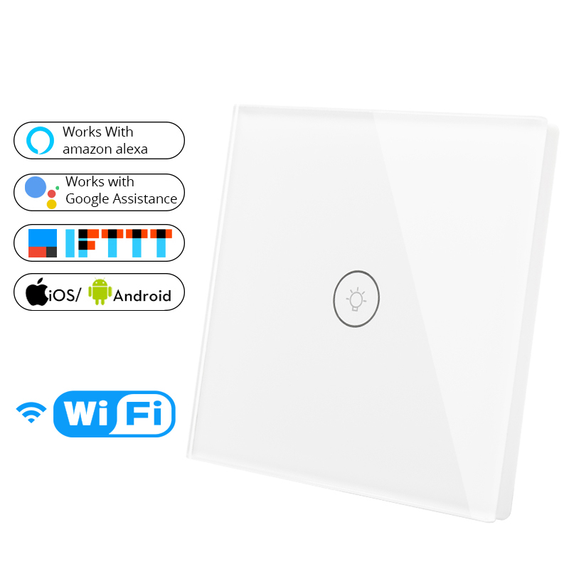 Smart Wall Touch Switch EU Socket 1 Gang Glass Panel Wifi  APP Remote Control Work With Google Home And Alexa For Smart Home