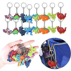 Image 2 - 6pcs/lot Dinosaur Rubber key chain Bracelet Birthday Party Supplies Gifts Wedding Gifts for Guests Favors Bracelet Lovers Gifts