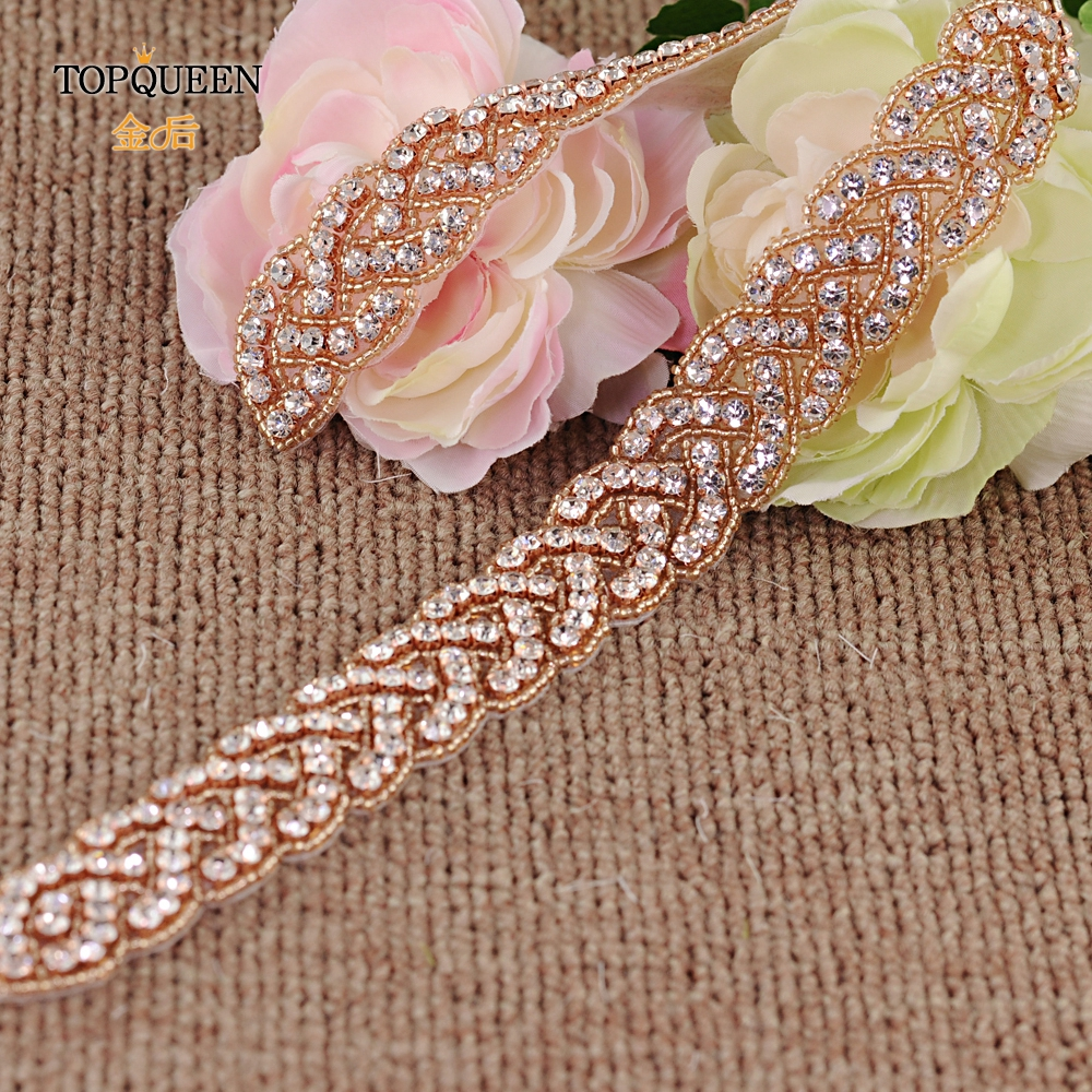 TOPQUEEN S216-RG Rose Gold Wedding Belts Beaded Wedding Belt Rhinestone Diamond Belt Evening Dress Belt Wedding Bridal Sashs