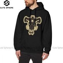 Zwarte Klaver Hoodie Zwart Clover Black Bulls Hoodies Outdoor Katoen Pullover Mannen Warm Blauw Grote Lange Lengte Hoodies