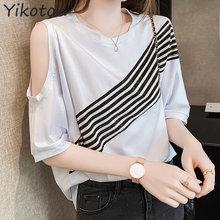 2021 Summer Women Tshirt Striped Cotton Short Sleeve T-shirt Women's Clothing O-neck T Shirt Female Top Fashion Shirts Femme