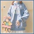 Худи HOUZHOU Kawaii с аниме, осенняя мода 2020, женские толстовки с принтом кролика, милый Свободный пуловер большого размера с длинным рукавом для ж...