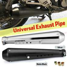 Universal Motorcycle Cafe Racer Exhaust Mufflers Silencer Pipe with Sliding Bracket Matte Black Silver Universal