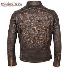 Vintageรถจักรยานยนต์หนังแจ็คเก็ตผู้ชาย100% ของแท้Cowhideหนังผู้ชายSlim Fit Bomber Moto BikerหนังCoatฤดูหนาวM261