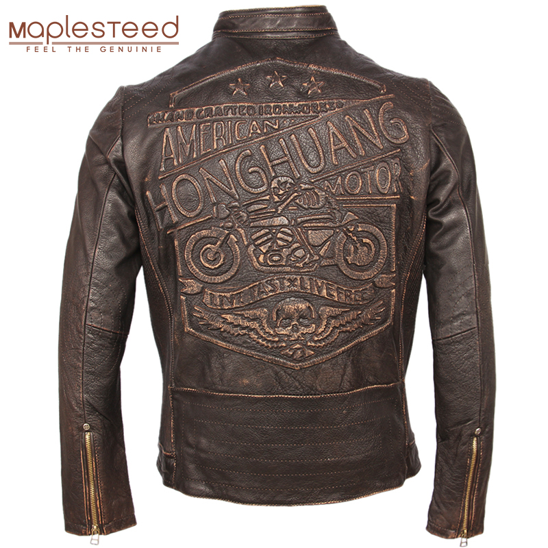 Vintage Motorcycle Leather Jacket Men 100% Genuine Cowhide Leather Coat Men Slim Fit Bomber Moto Biker Leather Coat Winter M261