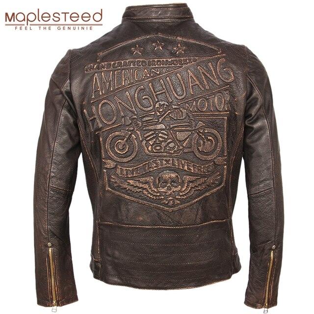 Vintage Motorfiets Lederen Jas Mannen 100% Echt Koeienhuid Leren Jas Mannen Slim Fit Bomber Moto Biker Leren Jas Winter M261