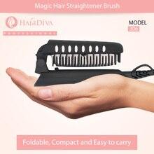 HairDiva Magic Folding Ionic Hair Brush Portable Electric Straightener Comb Travel Anti Scald in Black