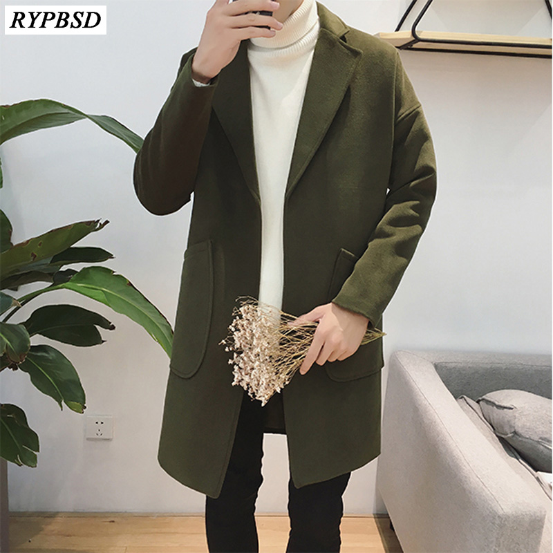 Man Wool Coat Trench Fashion Casual Long Coat Men Warm Long Sleeve Loose High Quality Cotton Long Woolen Coat Men 2019 New