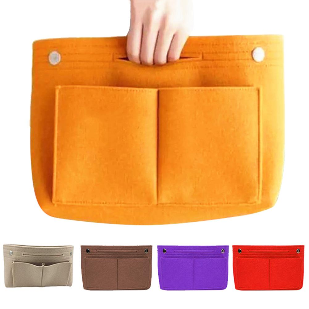 Women Portable Solid Color Felt Multi Pockets Cosmetic Handbag Storage Organizer Cosmetic Bags Cases