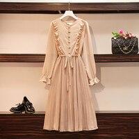 Plus Size Women Vintage Polka Dot Chiffon Dress Autumn 2019 New Ruffle Patchwork Long Sleeve Bow Lacing Ladies Shirt Dresses 5XL