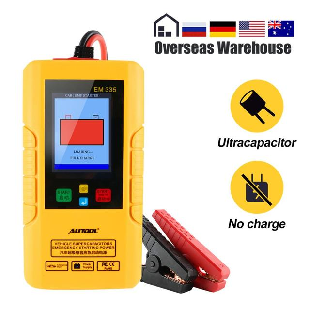 Autool EM335 Batteryless 12V Ultracapacitor Car Jump Starter Instantaneous Super Capacitor Emergency Power Bank Unlimited Use