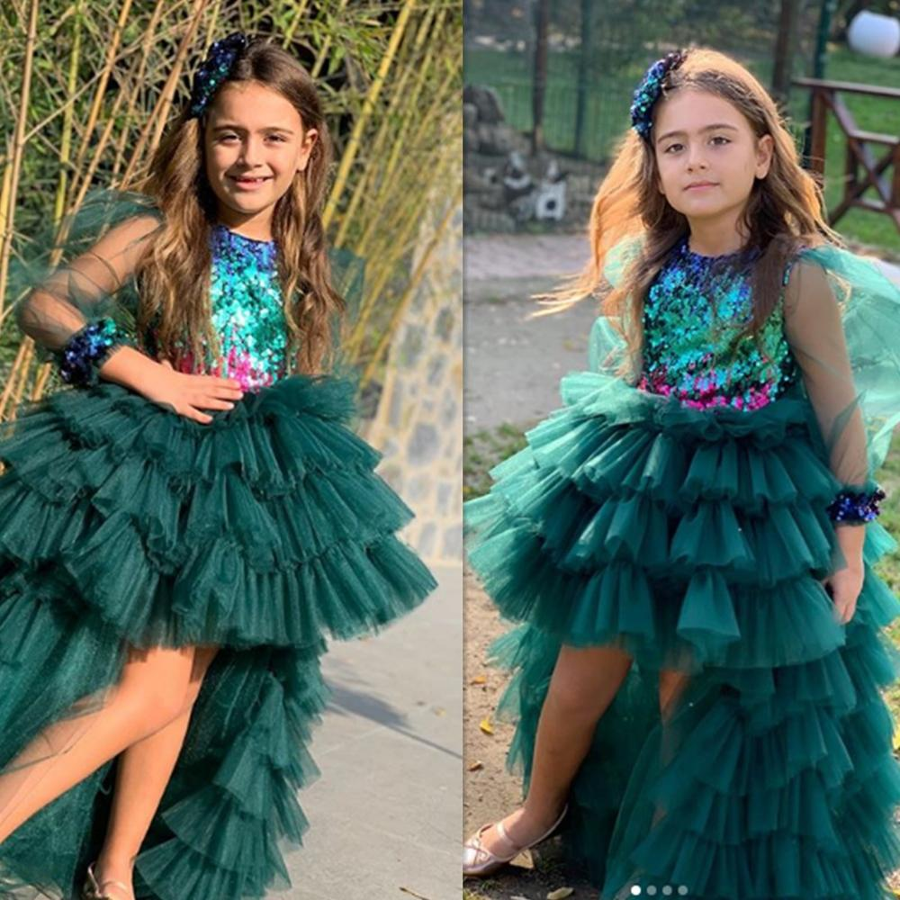 High Low Green Flower Girls Dresses Birthday Party Dress Celebration Gowns Pageant Dresses