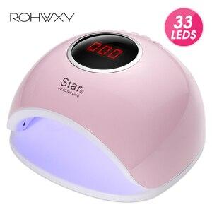 Image 1 - Rohwxy secador de unha 66w uv led, aparelho para secagem de unha de todos os tipos de gel, com parte inferior de 10s/30s lâmpada de gelo lcd para unhas/60s/temporizador, sensor automático