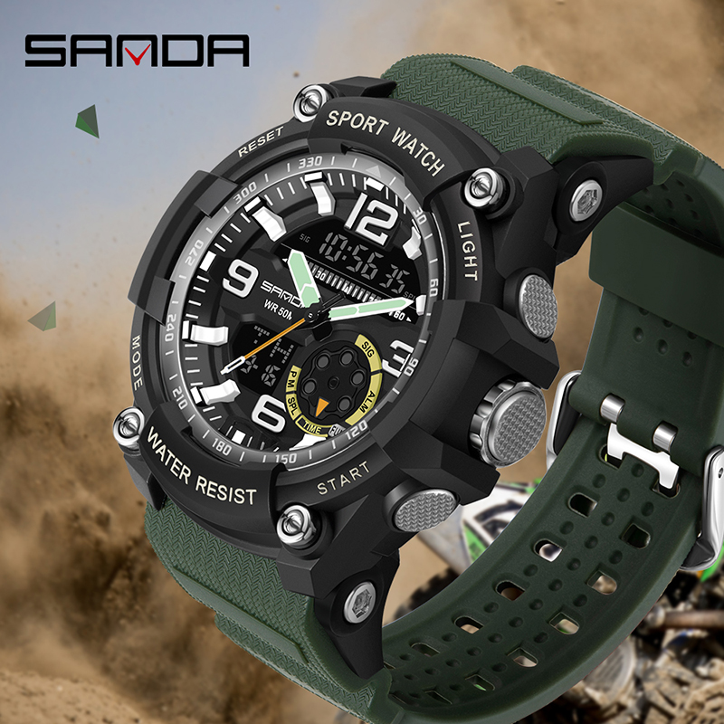2020 nouveaux hommes montre de luxe 3 temps antichoc numérique montres haut marque SANDA montre-bracelet homme mode Sport chronomètre horloge hommes