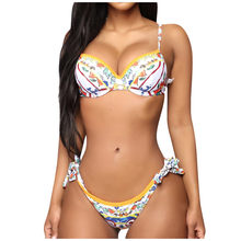 Verão Cintura Alta Biquíni Impressão Divisão Maiô Moda Swimwear das Mulheres Beachwear Bikini trajes de baño женский купальник muje