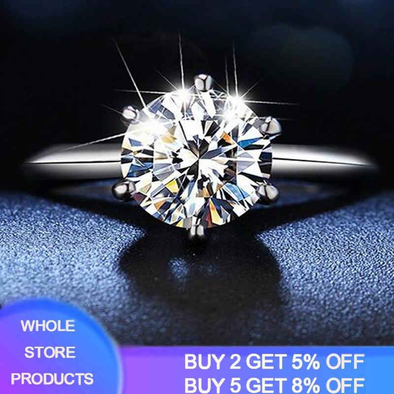 Free Sent Certificate 2.0ct 8mm Lab Diamond Moissanite Ring Fine Jewelry Original 18K White Gold Ring Love Token Girlfriend Gift