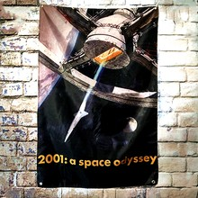 2001: A Space Odyssey Hollywood Movie Flag Banner Wall Stickers Tapestry Wall Hanging Illustration Printed Wall Decoration(China)