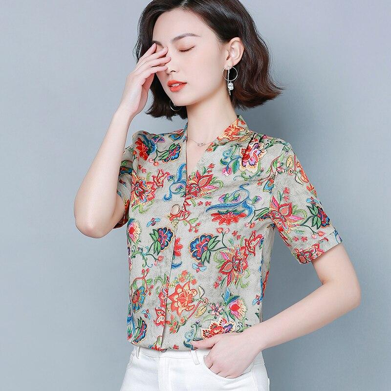 Korean Silk Shirt Women Satin Blouses Tops Plus Size Woman Embroidery Floral V-neck Blouses Top Blusas Mujer De Moda 2020 4XL