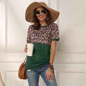 Image 3 - Women 2020 Summer Tee Shirt Female Leopard Stripe Print T Shirt Casual Tops Fashion Streetwear Short Sleeve Cotton T shirt S XXL