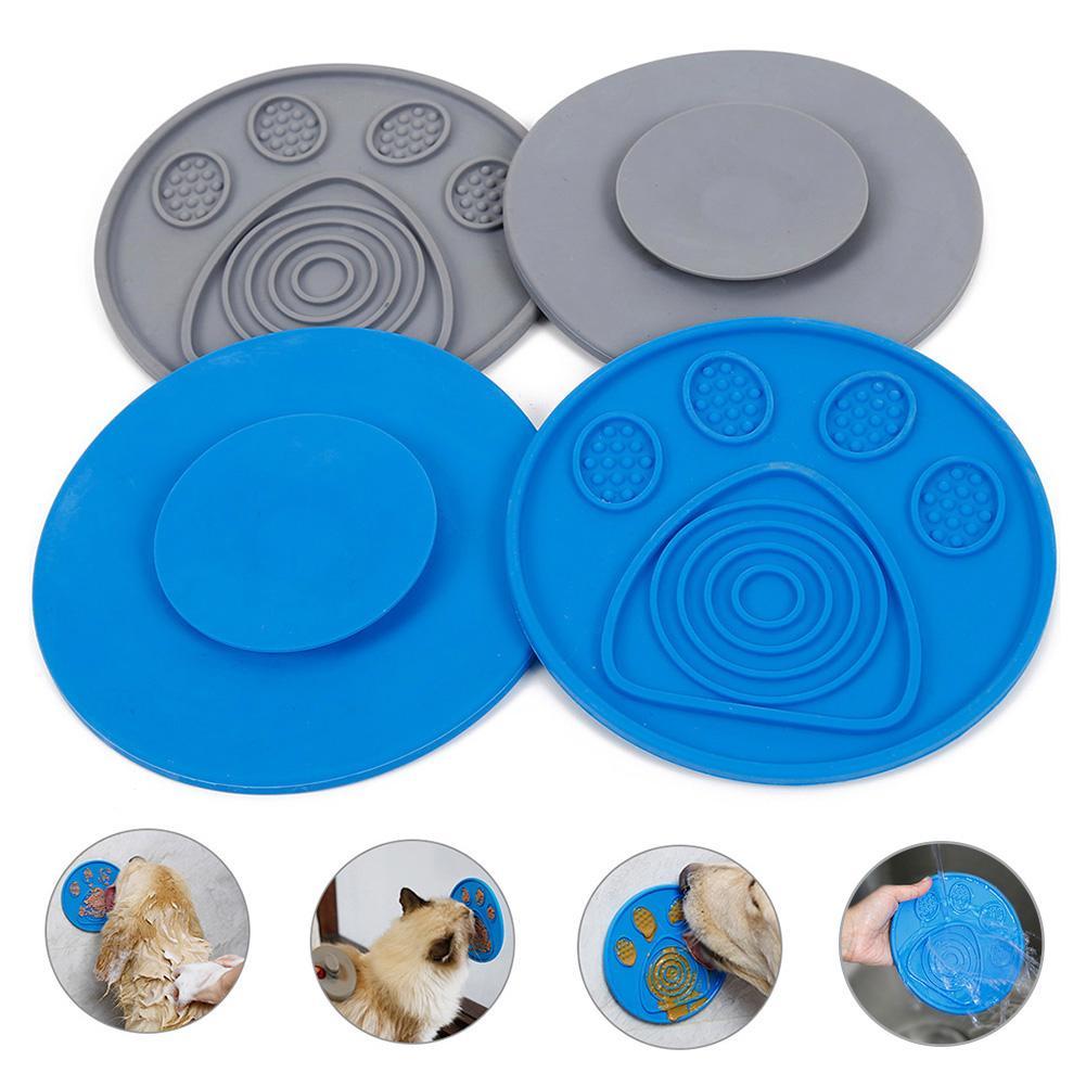 Silicone chien Lick Pad gamelle pour ingestion lente traiter tapis de distribution lente nourriture ventouse pour chien chiot bain Distraction facile toilettage bol pour animaux de compagnie