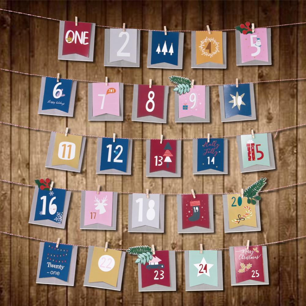 Christmas Advent Calendar Paper Bag Decorations Xmas Hanging Ornaments Home Decor Happy New Year 2020 Children Christmas Gift