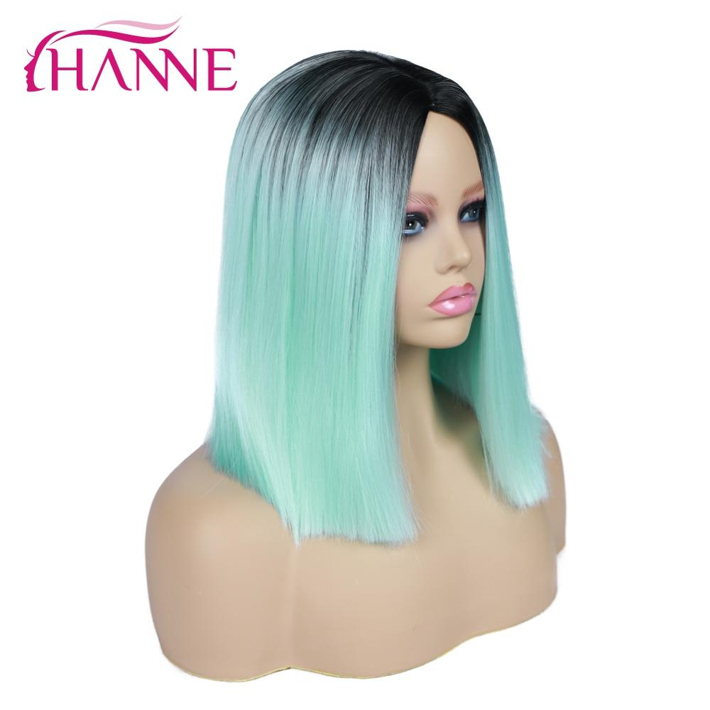 HANNE Natural Synthetic Hair Wigs Short Straight Ombre Mintgreen/Pink/Brown/Blonde/Grey Wigs For Women Cosplay Or Party