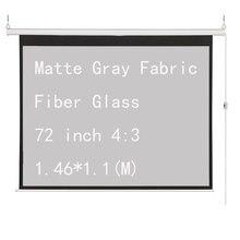 Thinyou Matte Gray Fabric Fiber Glass 72 inch 4:3 Electric Motorized Projector Screen Home Cinema Business School Bar