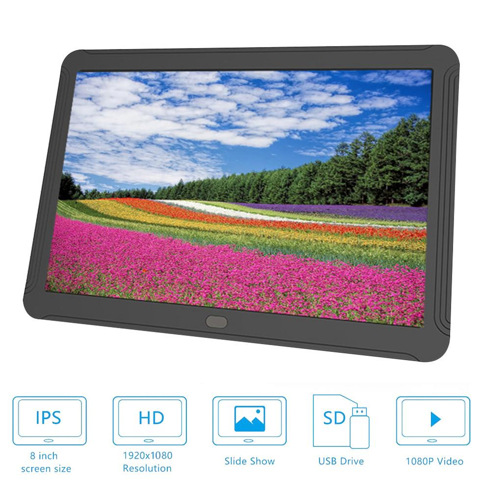 8 Inch Digital Photo Frame LED Backlight HD 1920*1080 Electronic Album Picture Music Movie MP3/MP4 Player Digital Frame Display image