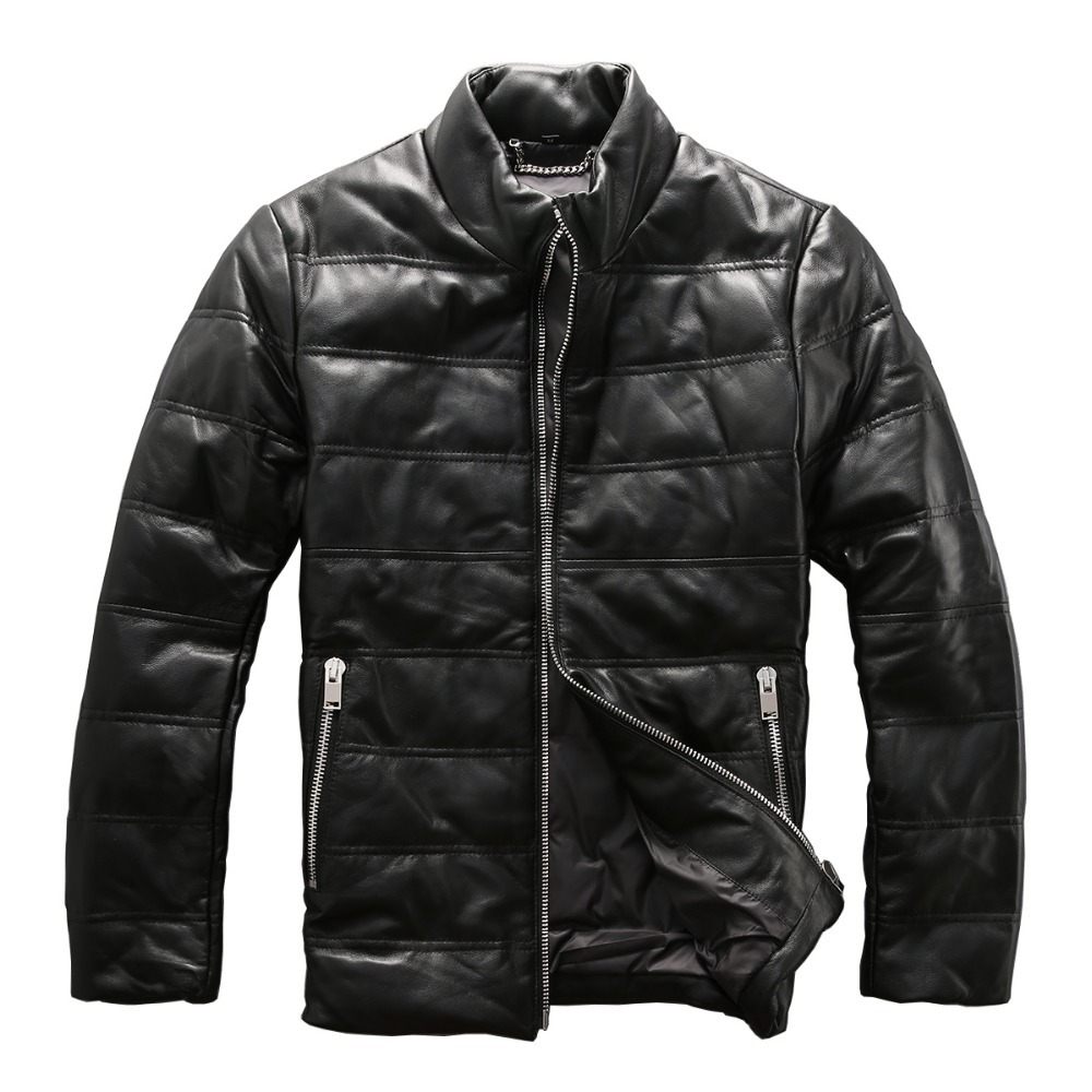 Mens Genuine Sheep Leather Down Jacket Very Warm Sheep Skin Winter Leather Jacket