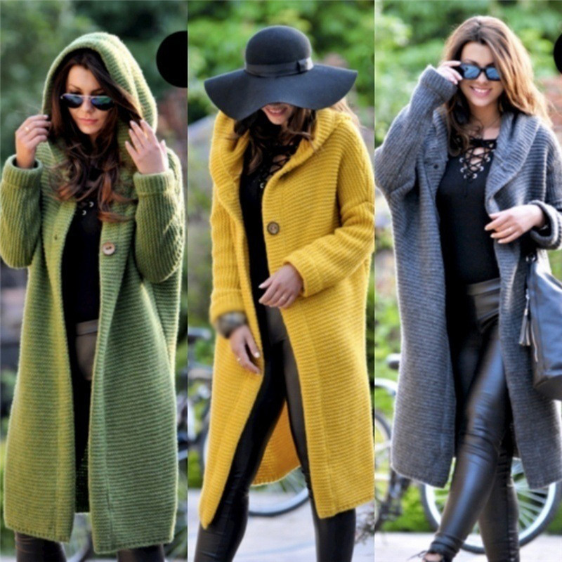 Cardigan Solid Long Hooded Sweater Women 2019 Autumn Winter Female Coat Casual Knitted Long Sweaters Office Lady Plus Size 5XL