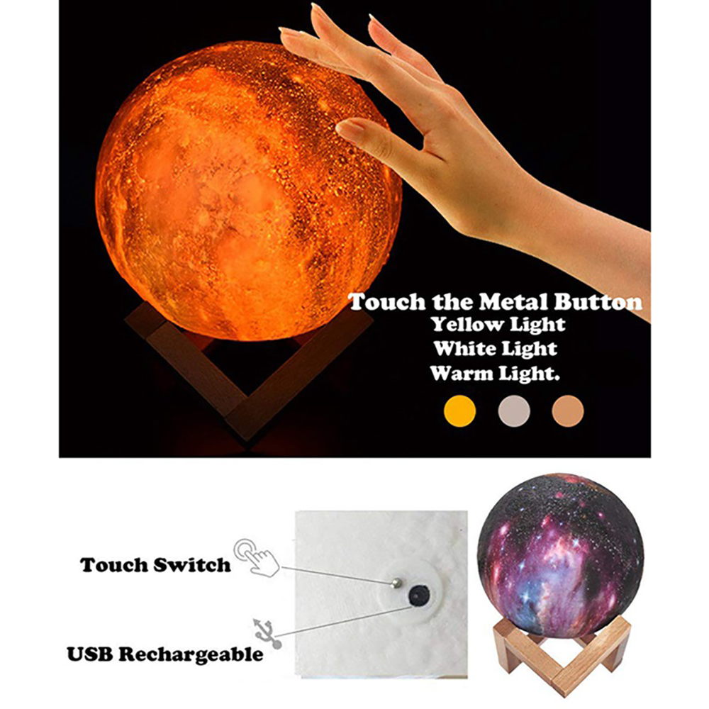 Galaxy Moon Lamp LED 3D Print Star Light 16 Colors Change RemoteTouch Creative Gift USB Moon Night Light Galaxy Lamp Home Decor (6)
