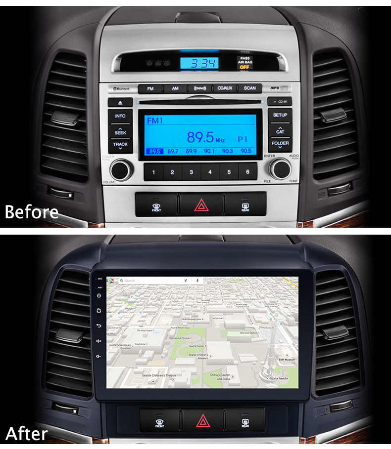 "Android 8.1 9 ""IPS Autoradio Multimedia Speler GPS Head Unit Voor HYUNDAI SANTA FE 2005 2006 2007 2008 2009 2010-2012"