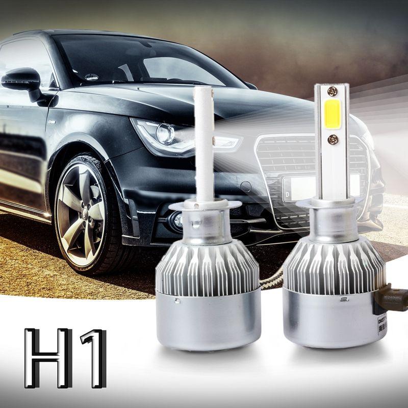 New New 2pcs C6 LED Car Headlight Kit COB H1 36W 7600LM White Light Bulbs