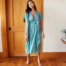 Bohemian Printed Summer Women Beachwear Kaftan Cover-ups Beach Dress Cotton Tunic Swim Wear