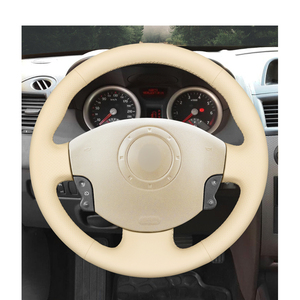 Image 2 - Hand stitched Beige PU Artificial Leather Steering Wheel Covers for Renault Megane 2 Scenic 2 Grand Scenic Kangoo 2 2002 2013
