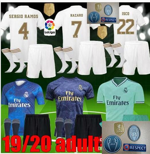 buy online ca11e 081fb US $19.99 |Hot sale 2019 NEW Real Madrid Adult kit+socks Soccer Jersey home  away 3RD Hazard ISCO BALE BENZEMA ASENSIO 19 20 Football shirt-in Soccer ...